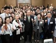 Photo: Youth attending the sixty-sixth UN DPI/NGO Conference in Gyeongju, Republic of Korea, flank Secretary-General Ban Ki-moon during a social media moment.