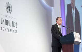 Photo: Ban Ki-moon addresses the opening session of the UN Department of Public Information (DPI)/Non-Governmental Organization (NGO) Conference in Gyeongju, Republic of Korea.