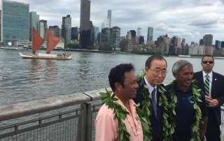 Photo: Palau President Tommy Remengesau, Secretary-General Ban Ki-moon and Nainoa Thompson pose at the pier.