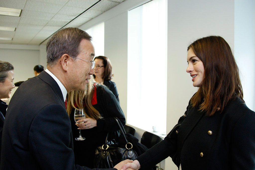 Photo: Actress Anne Hathaway, newly-appointed UN Women Goodwill Ambassador, with Secretary-General Ban Ki-moon in Los Angeles, California (March 2010). UN Photo/Mark