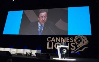 Photo: Secretary-General Ban Ki-moon delivers the keynote address at Palais des Festivals in Cannes, France.