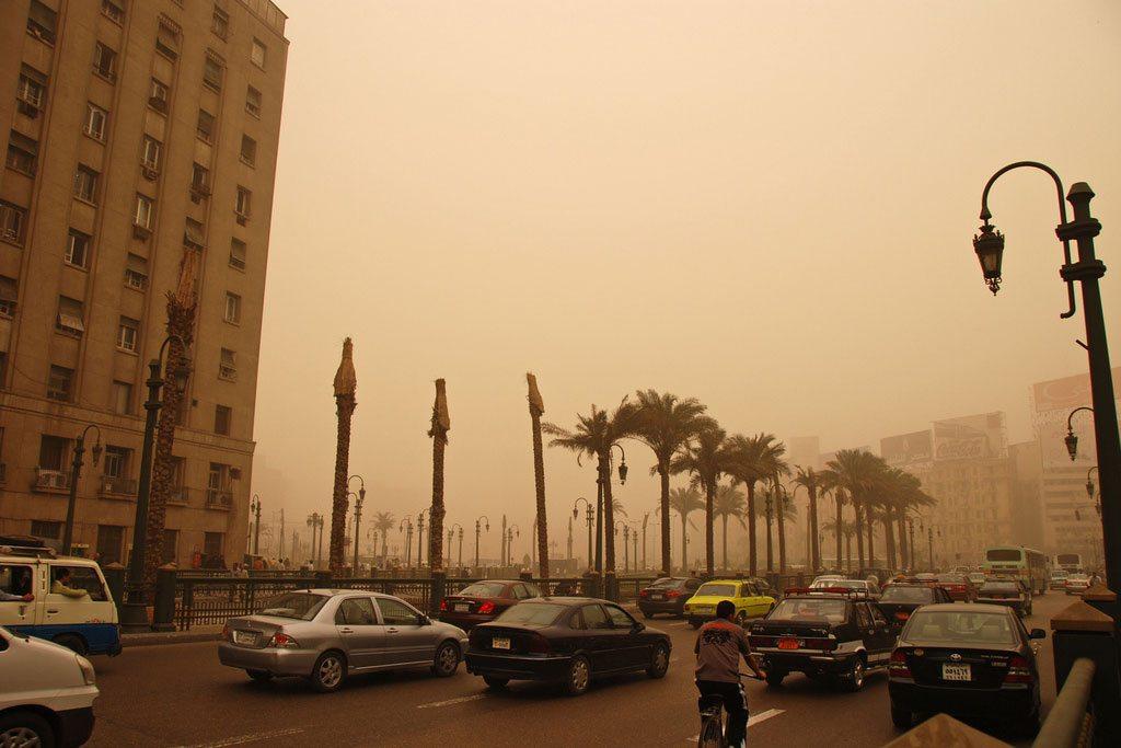 Air pollution in Cairo, Egypt.