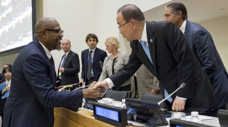 Secretary-General Ban Ki-moon (right) greets Forest Whitaker (left), SDG Advocate Credit: UN Photo/JC McIlwaine