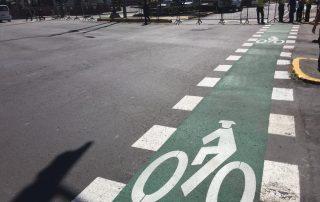 Photo: A bike lane in Quito, Ecuador.