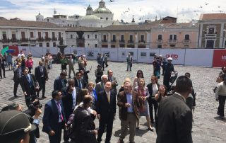 Photo: Ban Ki-moon looks up at the Convento de San Francisco in Quito''s old town.