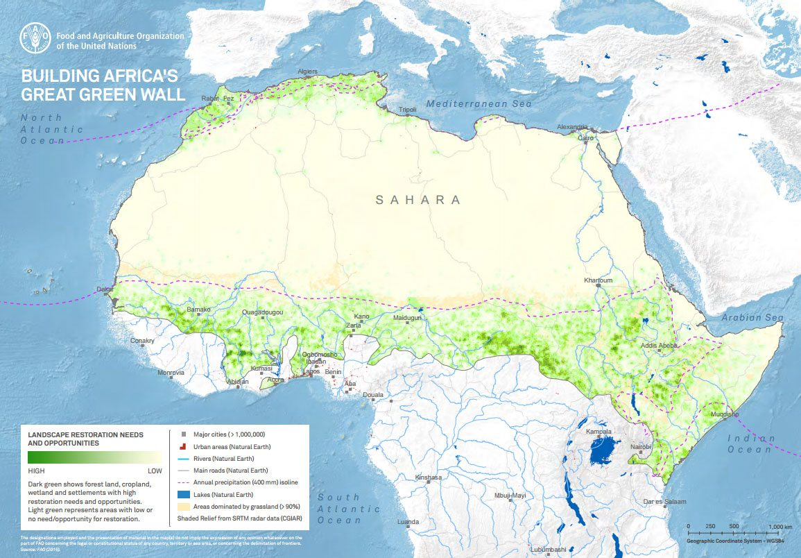Great Green Wall Initiative To Combat Climate Change In Africa - Africa climate map