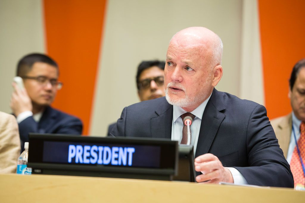 Photo: President of the General Assembly Peter Thomson briefs delegates on the strategy of his office to support the implementation of the Sustainable Development Goals.