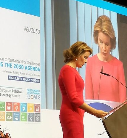 HM Queen Mathilde of the Belgians delivers a keynote address at the High-Level Policy Summit on Europe's Response to Sustainability Challenges. Photo credit: UNRIC