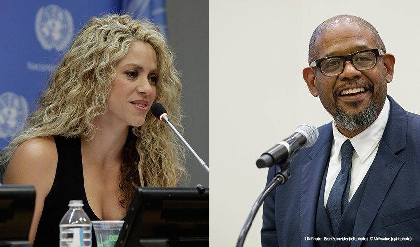 Photo: Colombian singer Shakira and American actor Forest Whitaker will be honoured for their work toward the Sustainable Development Goals at a ceremony in Davos, Switzerland.
