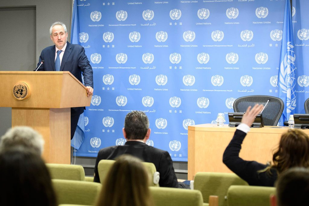 Spokesman Stéphane Dujarric for the UN Secretary-General, reads a statement on the United States decision to withdraw from the Paris Agreement on climate change. UN Photo/Manuel Elias
