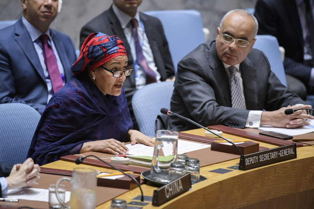 UN Deputy Secretary-General Amina Mohammed addresses Security Council meeting on 'peace and security in Africa.' UN Photo/Manuel Elias