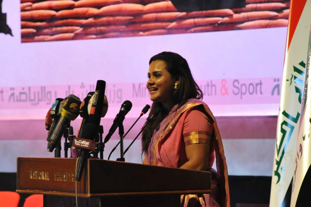 The UN Secretary-General's Envoy on Youth, Jayathma Wickramanayake, at a special International Youth Day event in Baghdad, hosted by the Ministry of Youth and Sports of Iraq. Photo: UNAMI/Ivan Djordjevic
