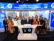 Peter Thomson, President of the 71st Session of the United Nations General Assembly (at podium), rings the Nasdaq Opening Bell. Photo: Christopher Galluzzo/Nasdaq, Inc.