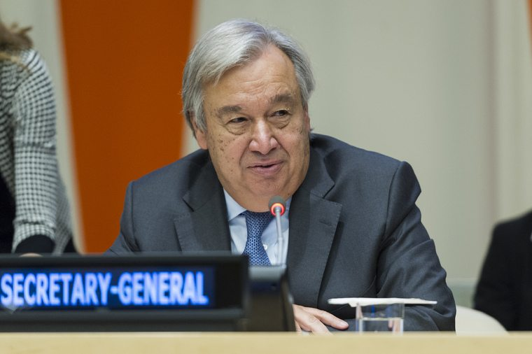 """Secretary-General António Guterres makes remarks at the high-level event on """"Financing the Future: Education 2030"""". UN Photo/Rick Bajornas"""