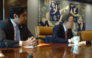 UN Secretary-General Ban Ki-moon and his Envoy on Youth Ahmad Alhendawi