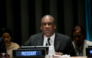 "John Ashe, President of the sixty-eighth session of the General Assembly, addresses the opening of the special event organized by his Office, ""Towards Achieving the Millennium Development Goals (MDGs)"