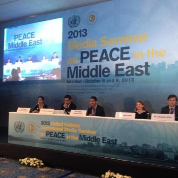 """Ahmad Alhendawi at the panel discussion """"Youth activism, digital journalism and social media in the Middle-East"""
