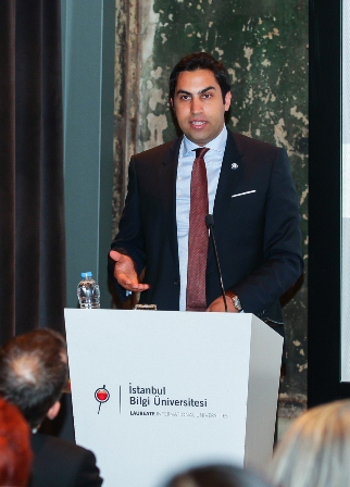 Ahmad Alhendawi giving a lecture at Bilgi University, Istanbul