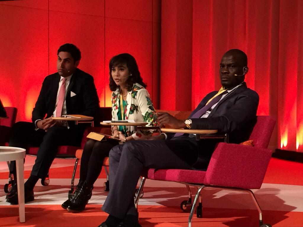 UN Youth Envoy Ahmad Alhendawi; H.E. Nova Riyanti Yusuf, Member of Parliament from Indonesia; and H.E. Haruna Idrissa, Minister of Trade and Industry and Member of Parliament from Ghana.