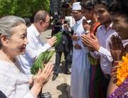 Secretary-General Ban Ki-moon and wife, Yoo Soon-taek, greet participants at the youth event in Galle, Sri Lanka. UN Photo/Eskinder Debebe