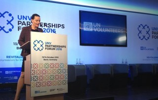 Saskia Schellekens, Special Adviser to the Secretary-General's Envoy on Youth, delivers the keynote address at the 2016 UNV Partnerhips Forum