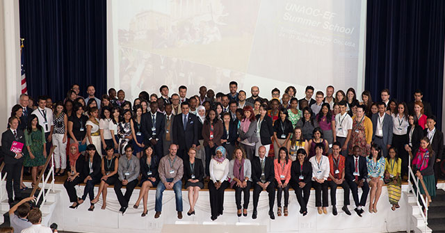 UNAOC High Representative Nassir Al Nasser with EF and participants of the Summer School.