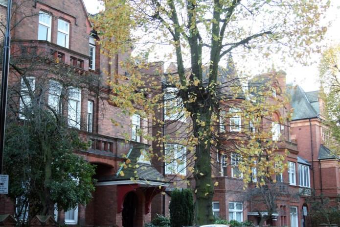 Londres en otoño hileras de casas