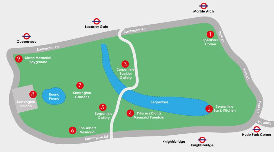 Patinar por Hyde Park Plano mapa