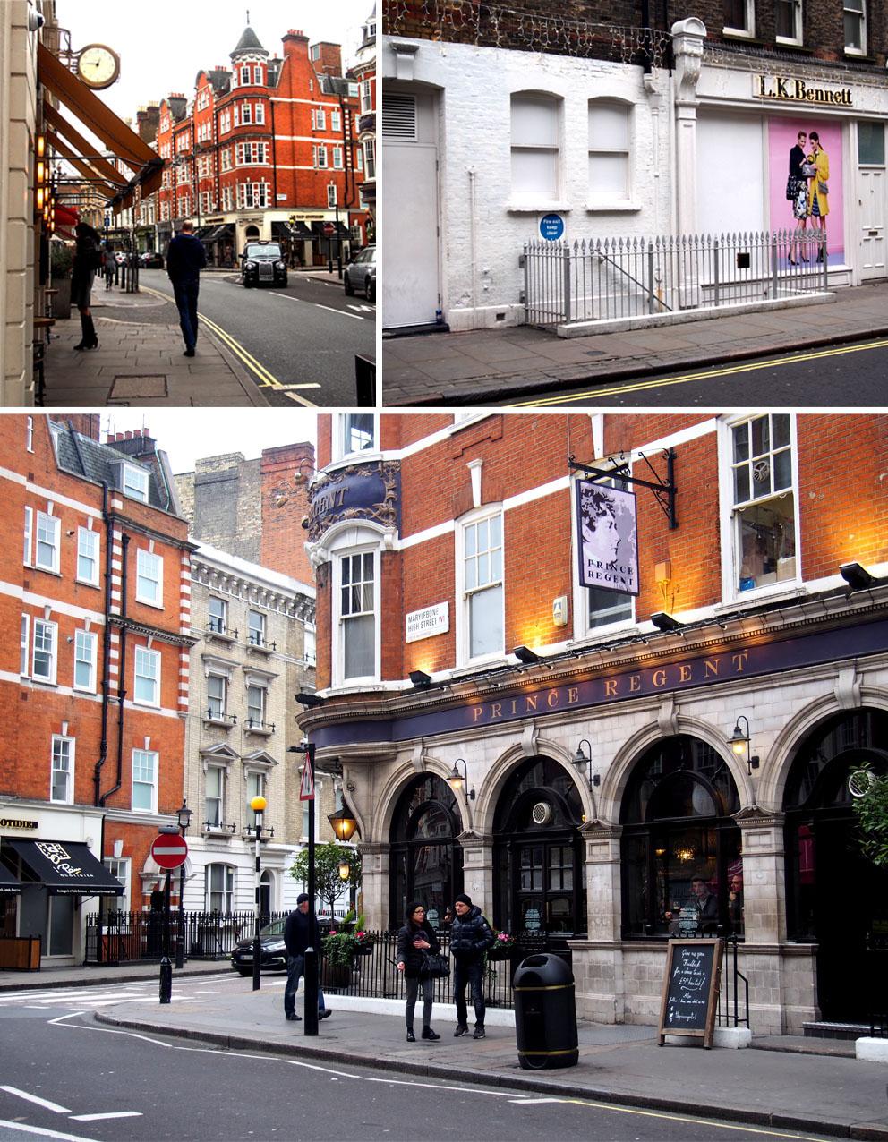 Tiendas en Marylebone Londres edificios