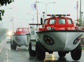 Philippine Red Cross Chairman Dick Gordon announces the deployment of Amphibian vehicles to help with relief operations