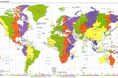 Map Of Times - Us time zone map with times