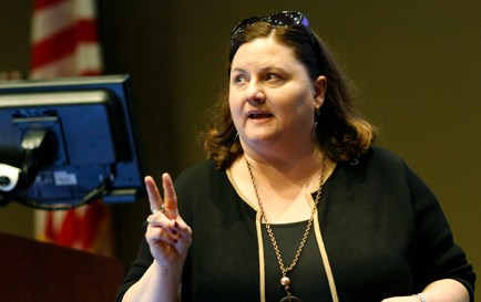 The regional director for the Rocky Mountain Area of the U.S. Patent and Trademark Office, Molly Kocialski, capped a three-day visit to Nebraska with a public forum at the University of Nebraska at Omaha's College of Business March 30, 2016.