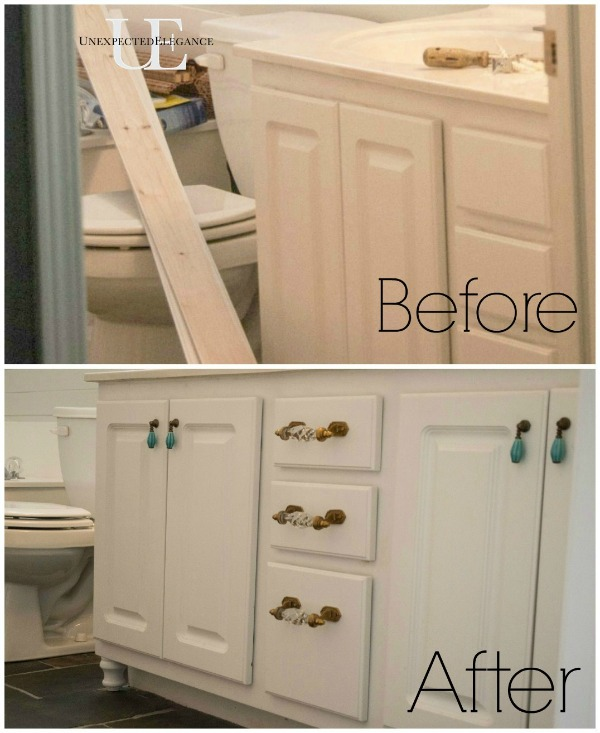 How to Transform a Builder Grade Bathroom Vanity for LESS