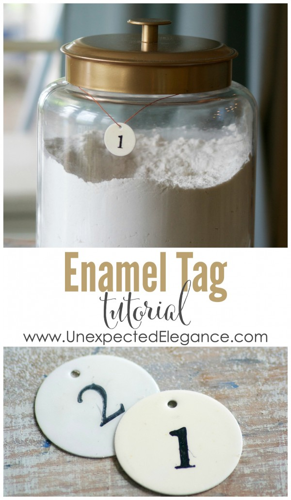 Check out this Enamel Tag Tutorial! You could use them to number bins in a playroom, as place cards at a wedding or to top off a favor. They are great for organizing.