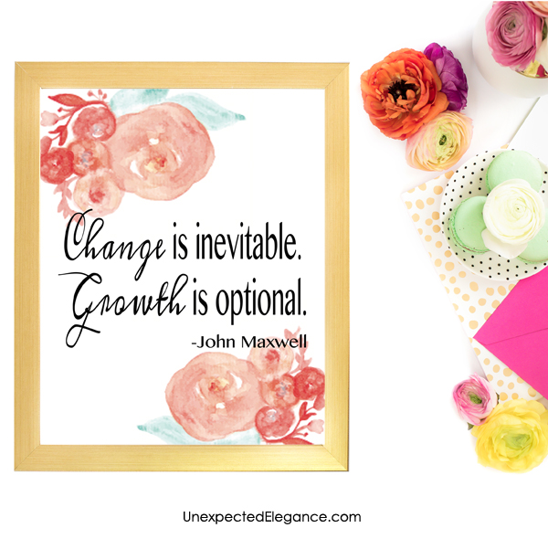 "Need a new piece of artwork? Download this FREE John Maxwell quote, ""Change is inevitable. Growth is optional."""
