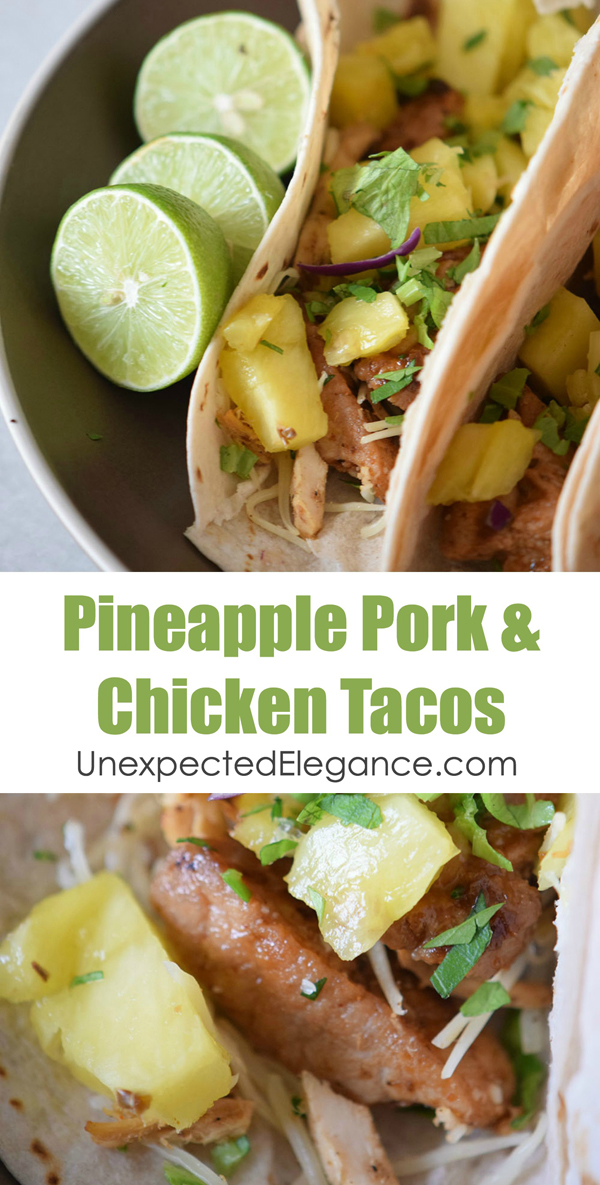This Pineapple Pork & Chicken Tacos recipe are a fun take on traditional Mexican food, easy to whip up, and delicious!! Give them a try for an easy meal tonight!