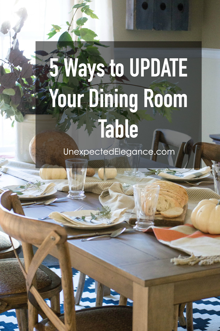 Do you have a dining room table that's in good condition, but outdated? Don't toss it. There are so many great ways to update your dining room table, instead of replacing it!