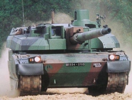 French Lecler tank in camo cruising