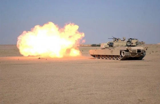 M1A1 tank unleashing its arsenal