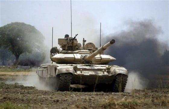 T-90 tank crusing