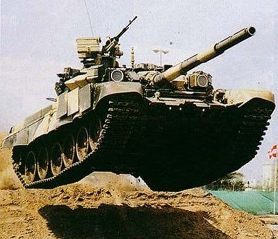 Russian T-90 Tank catches air