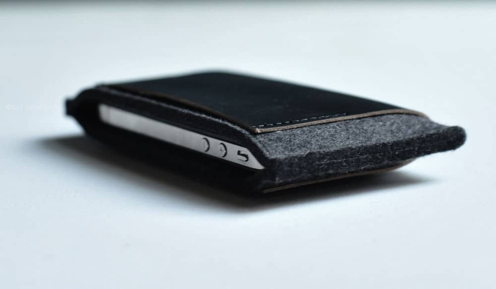 wool and leather iphone wallet cases by Byrd & Belle