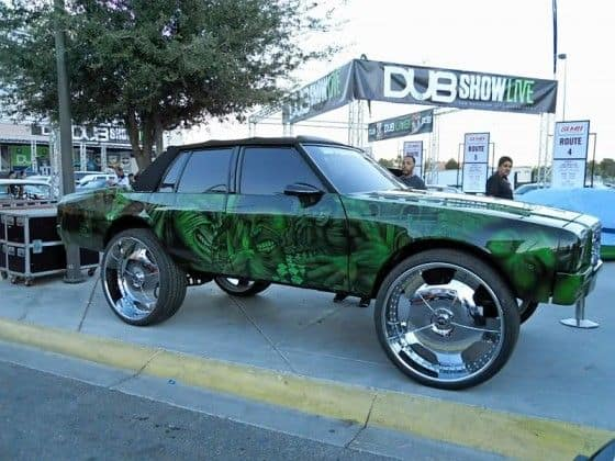 Donk Car with incredible hulk paintjob