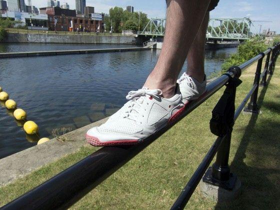 Skora shoe on railing