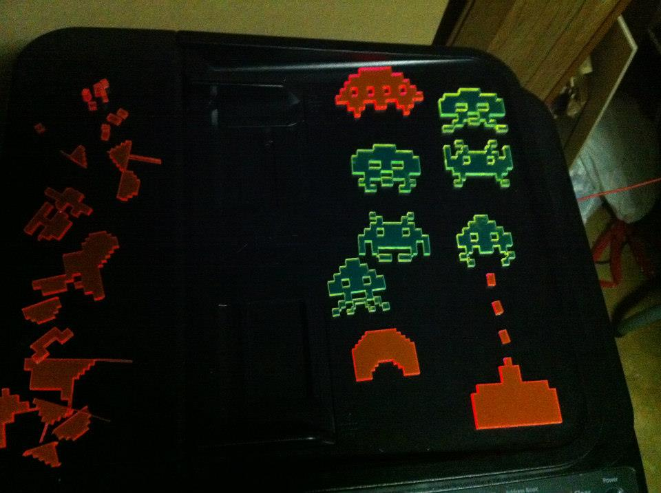 space invaders chess set laser cut from acrylic