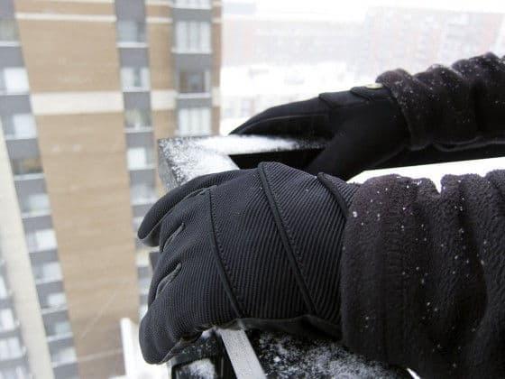 snowy winter gloves