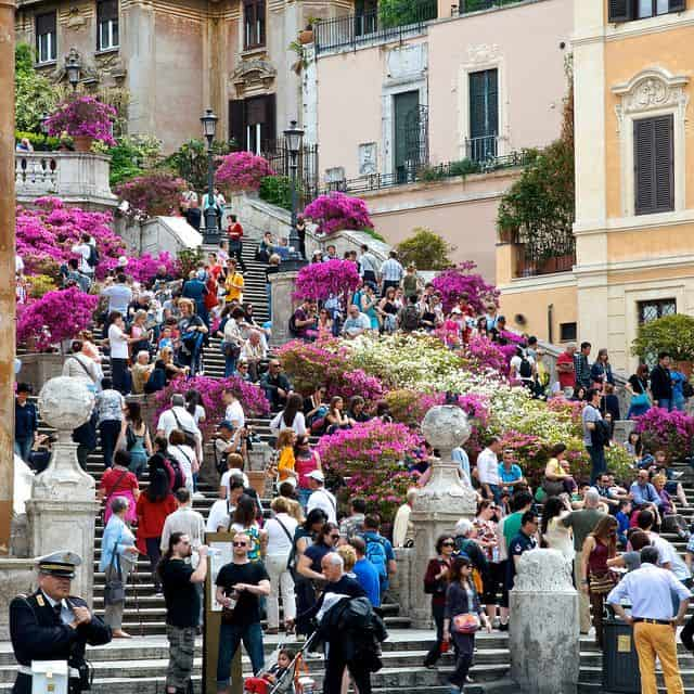 People sitting at Spanish Steps in Rome