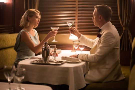 Bond (Daniel Craig) and Madeleine Swan (Lea Seydoux) in the Dining car in Metro-Goldwyn-Mayer Pictures/Columbia Pictures/EON Productions' action adventure SPECTRE.