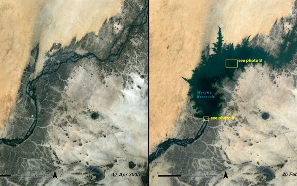 Impacto del embalse, Sudán (Abril 2005 – febrero 2010): La presa Merowe, en el Nilo en el centro-norte de Sudán, es uno de los mayores proyectos hidroeléctricos de África. Se espera que genere cerca de 6.000 GWh de electricidad al año, y tendrá el potencial para el riego de unas 400.000 hectáreas de cultivos. Sin embargo, ha sumergido una cantidad de tierra agrícola importante y ha obligado a decenas de miles de personas a trasladar sus hogares.