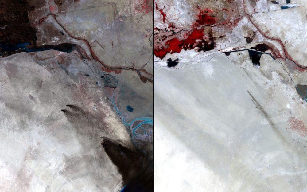 Extracción petrolífera, Kuwait (Febrero 1991 – julio 2011): Las fuerzas iraquíes prendieron fuego a cientos de pozos de petróleo durante la Guerra del Golfo liderada por Estados Unidos tras la invasión de Irak a Kuwait en 1991. Los residuos oscurecieron la tierra, normalmente de color claro. En 2011 el medio ambiente se ha recuperado en gran medida. Las columnas de humo en la última imagen son incendios provocados para quemar los gases de los pozos.